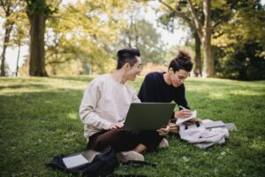 students-studying-park